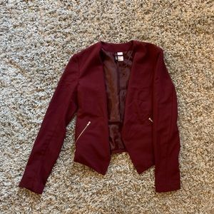 Maroon cropped blazer